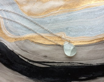 Sterling Silver Aquamarine Teardrop Necklace