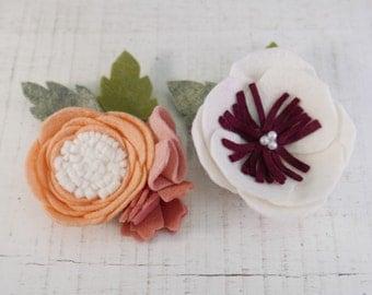 Wool Blend Flower Alligator Clip or Band