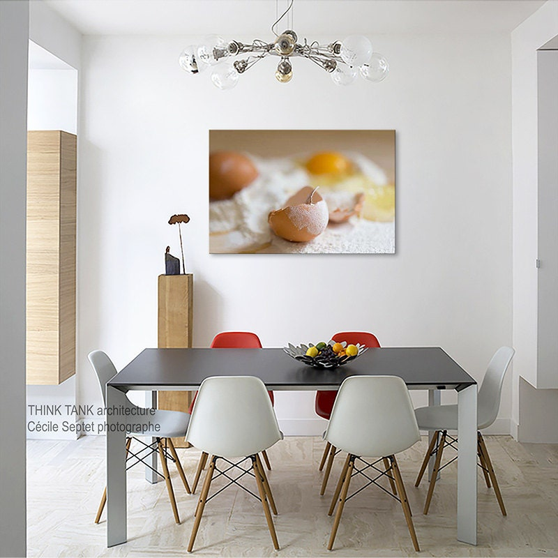 Yellow Kitchen Art: Large Canvas Art With Yellow Eggs In Flavor Kitchen Rustic
