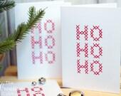 Hand Embroidered HO HO HO Christmas Cards (set of 10)