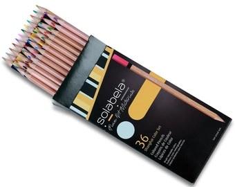 Solabela Triangular Colored Pencils - Set of 36. Premium Quality Artist Set