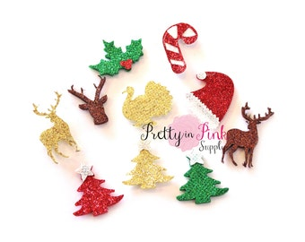 "Glitter Christmas Felt Appliques 1""- Glitter Felt- Party Supply- Birthday DIY Supply- Felt Glitter Craft- Hair Bows- DIY Craft Supply"