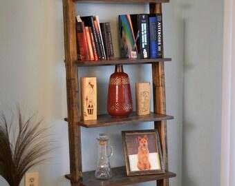 Wooden ladder bookshelf, dark walnut stain