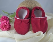 Crimson Corduroy Baby Shoes - Mushies Baby Shoes - Grip Sole Baby Shoes - Fleece Lined Fabric Baby Shoes - Corduroy Baby Shoes