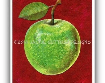 Green Apple Print 8 X 10 Giclee Granny Smith Apple Art Green Fruit