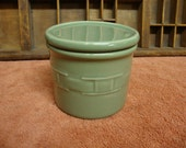 LONGABERGER POTTERY CROCK w/Lid Woven Traditions Sage Green