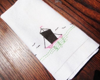 Vintage Preppy Linen Hand Towel Sailboat