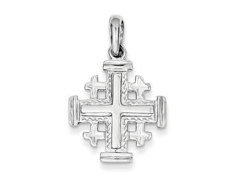 14k White Gold Jerusalem Cross Pendant