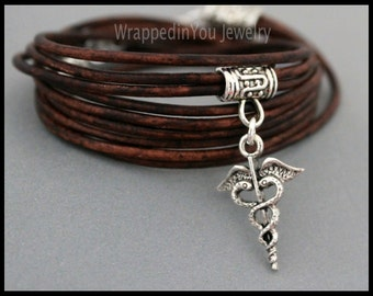 CADUCEUS Boho LEATHER Wrap Bracelet - Adjustable Triple Wrap Medical Care Nurse Doctor Charm Bangle Bracelet - USA - 736