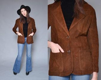 70s Brown Leather Blazer M Collared Work Jacket Suede Notch Collar Utility Chic Boyfriend Lightweight Coat Fall Blazer