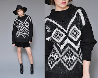 Geometric Sweater 80s 90s Chunky Knit Sweater Oversized Jumper Black White Preppy Hipster Grunge Mock Turtleneck Slouchy Top M L