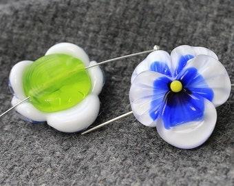 Handmade Lampwork Beads - 1 pc Glass Pansy Bead, Sculpted Pansy Beads, Glass Beads, Floral Lampwork, Lampwork Flower Beads, SRA Beads, Pansy