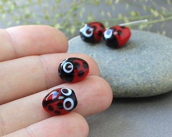 Handmade Lampwork Glass Ladybug Beads, Lampwork Beads, Lampwork Glass Beads, Glass Beads, Beads, Lampwork Beads, Glass, Lampwork Glass