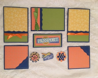 Sewn Scrapbook Photo Mat Sets with Embellishments