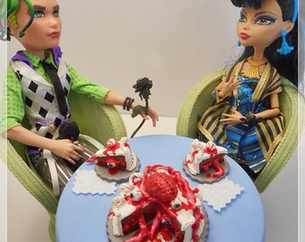 "OOAK Gourmet ""Brains YUM!!"" Doll Cake Monster and Zombie Inspired, Custom Miniature Food, High Fashion Mini Food / Dollhouse Scale"