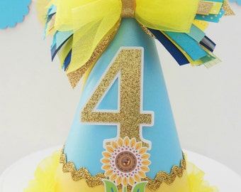 Frozen Fever - Sunflower Princess Birthday Party Hat - Aqua, Yellow and Glitter Gold