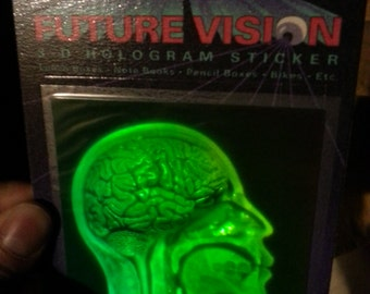 1993 Polaroid 3D Hologram Sticker Brain Skull Skeleton Anatomy