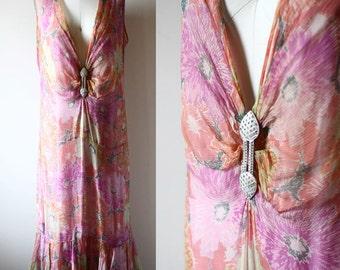 1920s floral silk chiffon dress // 1920s flapper dress  // vintage dress