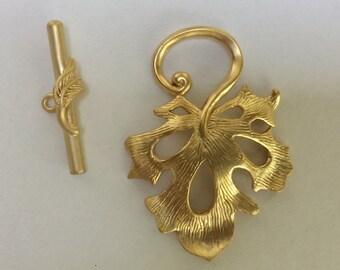 Beautiful Pierced Leaf Toggle Clasp in Matte/Brushed Gold Finish