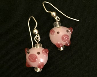 Pink piggy glass earrings
