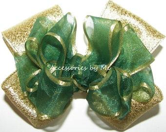 Christmas Hair Bow, Green Gold Clip, Organza Metallic Bow Barrette, Green Gold Baby Hair Bows, Green Gold Lame Dressy Flower Girls Barrettes