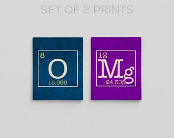 OMg Science Periodic Table Prints Chemistry Teacher Gifts for Teachers Physics Funny Home Decor Science Print Science Poster Gifts for Her