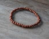 Men's Beaded Bracelet Small Natural Wood Beads - Light Brown
