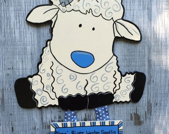 Lamb Birth Announcement Door Hanger