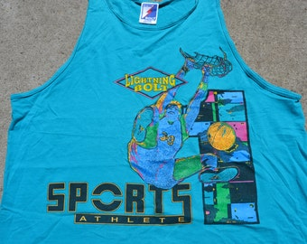 Totally Rad Vintage 90's Oversized Sports Athlete Tank Top By Lightning Bolt