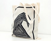 Sea Wave - Tote Bag, Shopping Bag,  Cotton Tote - hand screen printed - 100% Certified Organic Cotton - by Mileseed