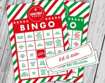 Printable Christmas Bingo Cards, Christmas Activity, Christmas Songs, 12 Bingo Cards, 32 Calling Cards, Christmas Printables for Kids