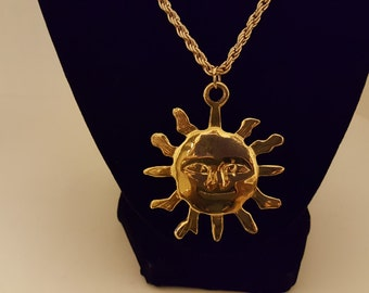 Sale Gold Tone Sun Pendant On Chain