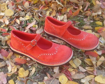 Nubuck maryjanes TEIDE in coral red