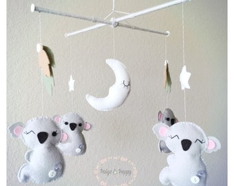 Baby Mobile - Neutral Koala Mobile - Jungle Baby Mobile - Zoo Baby Mobile - Baby Girl or Boy Mobile - Custom Nursery Mobile