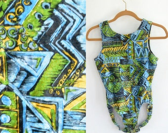 Vintage Velvet Swimsuit/Leotard Funky 80's Pattern (Green Blue Black and Yellow) Women's Size 4/5