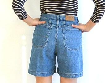 Classic 90's Long Denim Shorts // Riders // Dark Wash // High Waist (Women's Size 7/8)