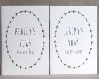 Wedding Vow Books  - His And Her Vow Books - May Be Personalized
