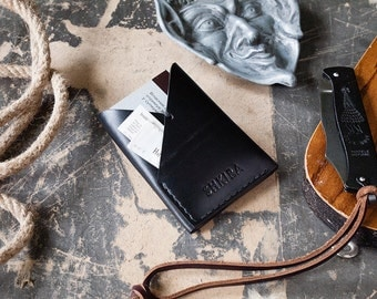 Minimalist Wallet Black Horween Chromexcel Leather