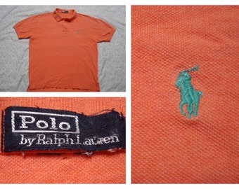 Vintage Retro Men's Polo Ralph Lauren Polo Shirt Short Sleeve Pique Orange Polo Shirt XL