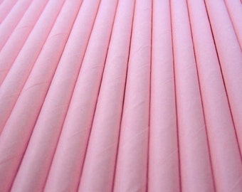 25 Pink Paper Drinking Straws - Party Decor Supplies Tableware