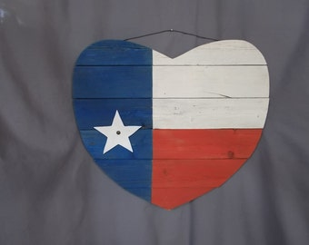 Texas Flag Heart - Recycled Fence Wood with distressed paint