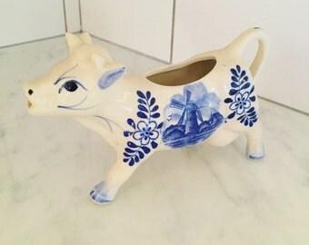 Delft Cow Creamer, Vintage Delft, Blue and White, Holland Delft Blue, Vintage Creamer, Folk Decor