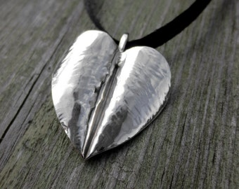 Heart leaf pendant, simple silver necklace, handmade, sterling silver, natural, rustic, forged jewelry, sculpted, love, unique gift,