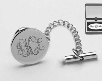 Personalized Tie Pin - Monogrammed Tie Tack - Engraved Silver Rhodium Plated Tie Pin - Wedding Gifts - Groomsmen Gifts - Buy 6, Get 7th Free