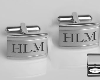 Engraved Cufflinks, Silver Two Tone Stainless Steel Cufflinks Custom Engraved Free, Groomsman Gifts, Wedding Favors - Buy 6, Get 7th Free