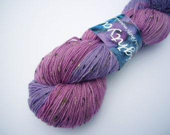 Hand dyed Donegal sock weight Superwash Merino with Donegal Nep  - half and half