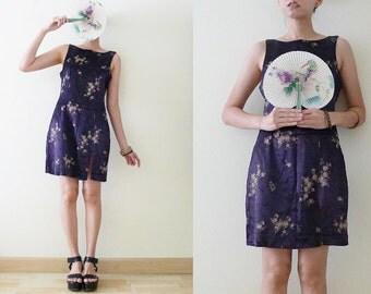 VTG Dalmys violet KUNG FU Dress, silky Cheongsam / QiPao satin Chinese sleeveless dress,Asian,florals printed,front slit, cyber,rave, Medium