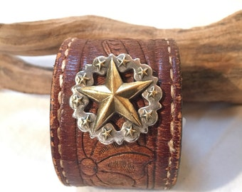 Embossed Leather Cuff, Large Star Concho