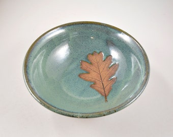 Pottery Leaf Bowl with Oak Leaf Imprint Wheel Thrown Stoneware Pottery