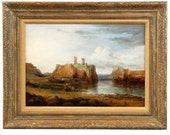 Antique 19th Century Oil Painting on Panel of Scottish Dunbar Castle Ruins, 508KBU23